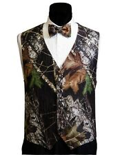 NEW Mens Mossy Oak Camo Tuxedo Vest Bow Tie FREE Hankie Wedding Deal Set