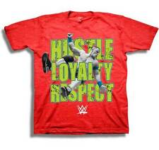 John Cena Youth Boys T-Shirt WWE Red Heather HUSTLE LOYALTY RESPECT