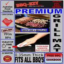Rigid Grill Mat Premium for BBQ (4x Thicker)+DuPont Teflon+Money Back Guarantee