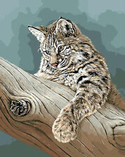 Lynx On Tree Branch Hand Painted Design Needlepoint Canvas 691