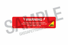 Gas Safe Warning - Electrical Isolation Labels