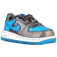 Nike Air Force 1 Low - Boys' Toddler Basketball Shoes (Black/White/Star Blue)