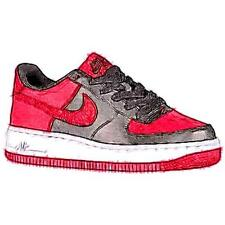 Nike Air Force 1 Low - Boys' Preschool Basketball Shoes (Black/White/Gym Red)