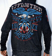 Affliction American Customs MC EAGLE Zip Hoodie Sweatshirt - NEW A5264 - Black