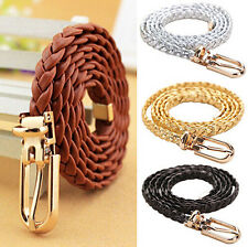 Waist Belt PU Leather Womens Waistband Narrow Thin Braided Vivid Buckle Strap
