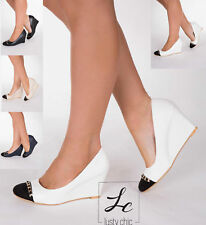 Womens White Black Navy Low Mid Wedge Pumps High Heel Shoes Size 3 4 5 6 7 8