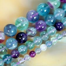 15 Inches Natural Colorful Fluorite Round Gems Loose Beads Pick Size 6,8,10,12