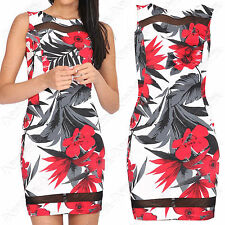 WOMENS FLORAL MESH BODYCON MINI DRESS SLEEVELESS CONTRAST LADIES SHIFT DRESSES
