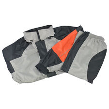 Two Piece Motorcycle Rain Gear Suit Jacket Pants Black Orange Grey Reflective