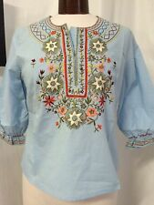 MOYNA EMBROIDERED PEASENT BOHO 3/4 SLEEVE COTTON SHIRT NWT