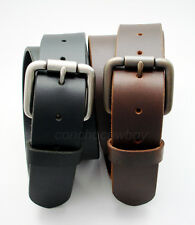"Brand New Roller Buckle Genuine Full Grain Leather Casual Jean Belt 1-1/2"" Wide"