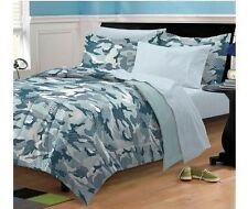 NEW Twin Full Bed Gray White Camouflage Camo Boys 7 pc Comforter Sheets Set NWT