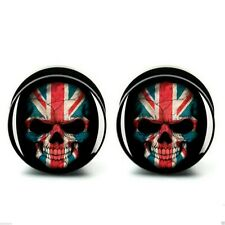 Union Jack GB Skull Acrylic Screw Fit Ear Plug Flesh Tunnel 6-25mm