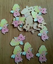 JOBLOT 20  ANGELS Wooden buttons sewing Scrapbook 2.5 x 4 cm