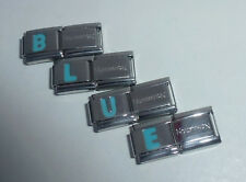 BLUE LETTER 9mm Italian Charm & 1x Authentic Nomination Classic Link ALPHABET