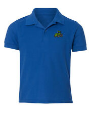 Tractor Construction Embroidered Kid Children Youth Polo Shirt/XS-XL Youth Size