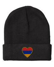 Heart Armenia Flag  Embroidery Embroidered Beanie Skully Hat Cap