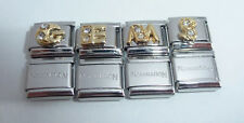 GOLD LETTER 9mm Italian Charm & 1x Authentic Nomination Classic Link CLEAR GEMS