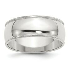 8mm Milgrain Sterling Silver Wedding Band Mens Women Ring Size 4 to 13.5