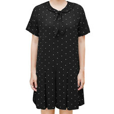 Women Peter Pan Collar Self Tie Dots Pleated Tunic Dress