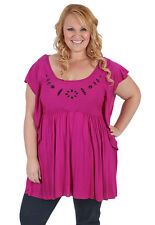 New Plus Size Cerise Tunic Short Sleeves With Beading | 18 - 28 Curvaceous