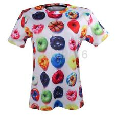 3D Couple T Shirt Donuts Printed O Neck Short Sleeve Lovers Matching Cool Shirt