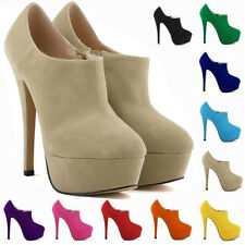 Womens High Heels Platform Court Casual Ankle Pumps Womens Boots Shoes Size 2-9