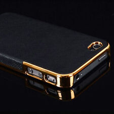 Frame Luxury PU Leather Chrome Hard Back Case Cover For iphone 5/5S 6 /6 Plus