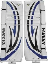 New Vaughn 7260 ice hockey goalie goal 26+1 leg pads intermediate int black/blue