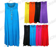 Womens Ladies Plus Size Sleeveless Frill Gypsy Tunic V-Neck Top + FREE NECKLACE.