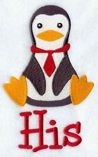 Personalised & Custom Embroidered His Penguin Towel Set  Face,Hand&Bath Towels