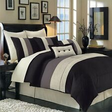 12pc Black Hudson Luxury Bedding Comforter Set AND Sheet Set