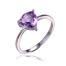 1.1ct Natural Amethyst Trillion Solitaire Ring Solid 925 Sterling Silver