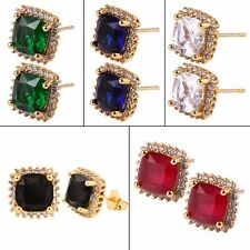 MODOU Charming Bright Topaz Stud Earrings 24K Yellow Gold Filled Party Jewelry