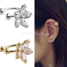1pcs Fashion Flower Rhinestone Crystal Lady Ear Cuff Earring Clip on No Piercing