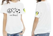 "Peace Love World "" I am Brazil "" Soccer White Crew Neck V-Neck Unisex Tee Large"