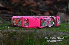 Flower Power Pink ribbon dog collar small, med, large, x-large