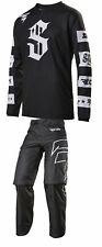 Shift Racing Black/White Recon Checkers Dirt Bike Jersey & Pants Kit MX ATV MTB