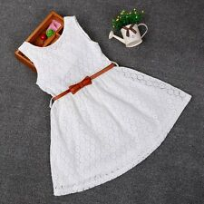 NEW Toddler Kids baby Girls Summer Lace Crochet Dress Princess Party Pageant Dre