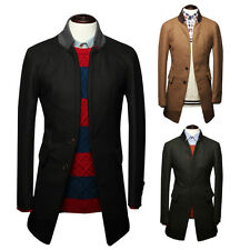 Mens Single Breasted Slim Fit Two Button Stylish Tweed Overcoat Windbreak