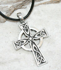CELTIC CROSS WALES IRISH Pewter Pendant Leather Cord