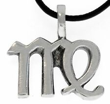 VIRGO Silver Pewter Pendant Leather Necklace Surfer