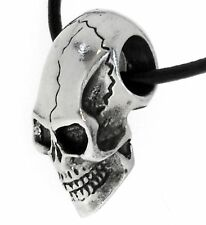 GOTHIC SKULL Silver Pewter Pendant Leather Necklace