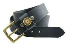 "MADE IN USA BLACK BIG & TALL LEATHER SHOTGUN SHELL BELT 1-1/2"" WIDE  30 - 60"""