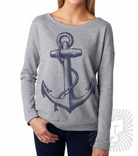 VINTAGE ANCHOR Vintage Style Nautical Sailing Long Sleeve French Terry T-Shirt