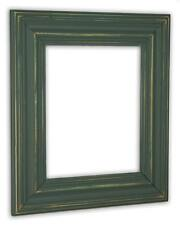 Wide Distressed Hunt Club Green Picture Frame - Solid Wood