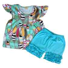 French Blue Feather Top & Ruffle Shortees Set