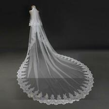 2T White/Ivory Lace 3M Wedding Veil Sequins Cathedral Bridal Veils with Comb