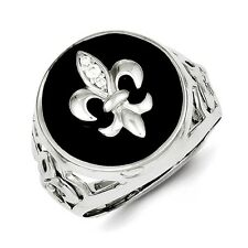 Sterling Silver Fleur-De-Lis CZ & Black Onyx Men's Ring 5.76 gr Size 9 to 11