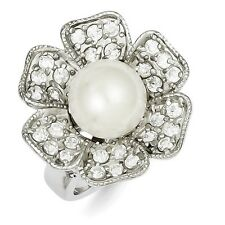 Sterling Silver Round White Simulated Pearl & CZ Ring 7.35 gr Size 6 to 8